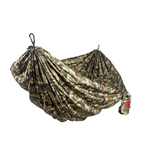 Grand Trunk Double Parachute Printed Nylon Hammock: Portable with Carabiners and Hanging Kit - Perfect for Outdoor Adventures, Backpacking, and Festivals, Woodland Camo by Grand Trunk