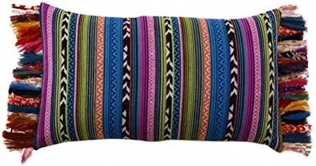 ZEN ETHIC funda cojín 30 x 50 + flecos – algodón, multicolor ...