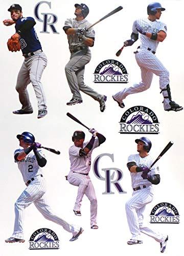 FATHEAD Colorado Rockies Mini Graphics Team Set of 6 Players + 6 Rockies Logo Official MLB Vinyl Wall Graphics - Each Player 7