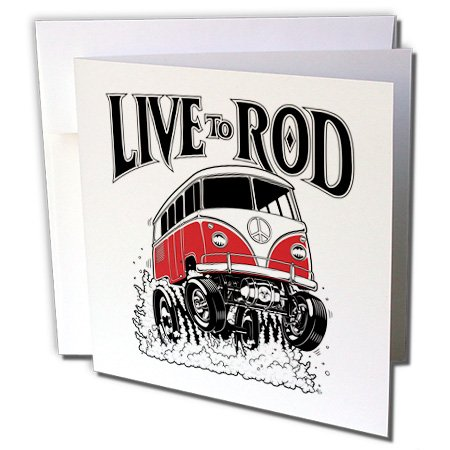 3dRose Mark Grace CARS AND WILD RODS - live to rod - A 1964 microbus nailing it, gets air and smoke, this bug lives to rod - 1 Greeting Card with envelope (gc_217344_5)