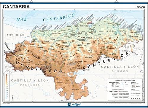 Mapa mural Cantabria impreso a doble cara Físico / Político ...