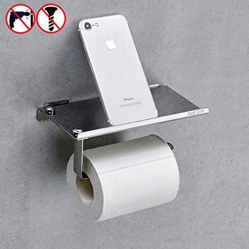 BESy Adhesive Toilet Paper Holder with Shelves Storage Bathr