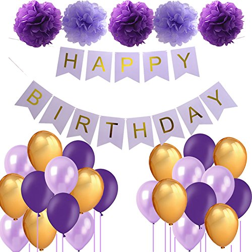 Purple Birthday Decorations Lavender Birthday Decor- Happy Birthday Banner Pom Poms Tissue Paper Flowers Party Ballooms for Purple and Gold Birthday Party Decorations (purple theme)