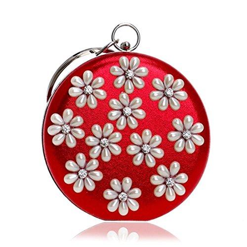 Embrague Hombro Bolsa color Vestido Hombro Noche Red De Bolso Banquete Perlas Señora fqaOwq4