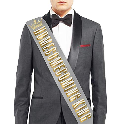 Homecoming King with Crown on Silver Premium Satin Sash - Homecoming Decorations & Supplies - Silver