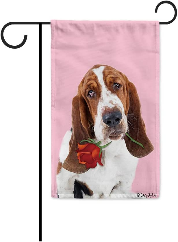 BAGEYOU Your Sweetheart Lover Dog Garden Flag Basset Hound and Red Rose Floral Decor Home Banner for Outside 12.5X18 Inch Print Both Sides