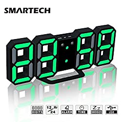 Alarm Clock with Jumbo 3D Digits, Snooze for Heavy Sleeper, 3 Levels of Brightness, Dimmable Night Light, Modern Alarm Clock for Living Room Decor, Office, Hotel (Black/Green)