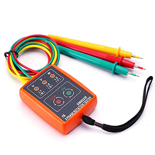 3 Phase Sequence Presence Rotation Tester Indicator Detector Meter With LED And Buzzer Tester Phase Indicator 60V~600V AC (3 phase AC)