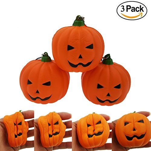 M-jump Kawaii squishy Jumbo Pumpkin Slow Rising Sweet Scented Vent Charms Kid Toy Hand Pillow Toy, Stress Relief Toy Toy hop props,Halloween decorations(set of 3 Pumpkins)