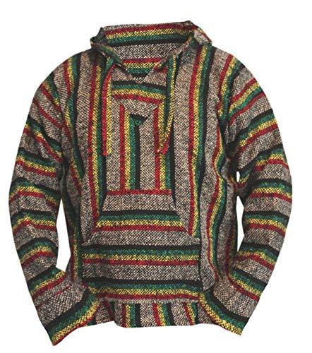 Hippie Surf Poncho Sweater Sweatshirt Pullover Jerga (Large, Rasta) ()