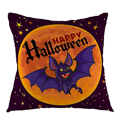 oFloral Bat Pillow Cover Cartoon Vampire Bat On Full Moon Happy Halloween Night Sky Throw Pillow Case Square Cushion Cover for Sofa Couch Car Bed Home Decorative 18