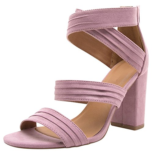 Cambridge Select Womens Open Toe Crisscross Ankle Strappy Chunky Wrapped Block Heel Sandal Ash Lilac i2b4SoXT