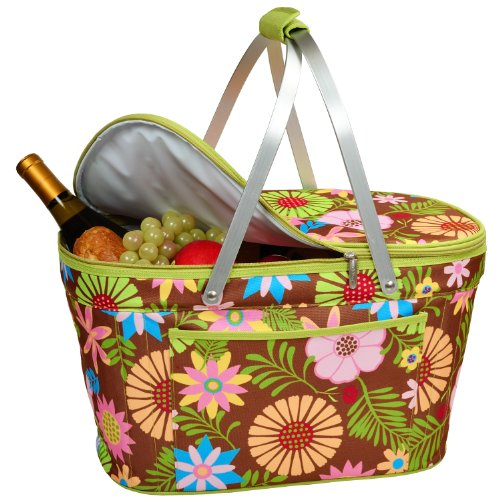 Picnic at Ascot Large Family Size Insulated Folding Collapsible Picnic Basket Cooler with sewn in Frame - Floral