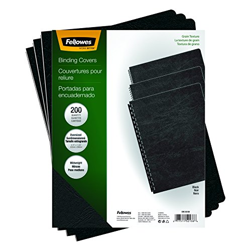 Fellowes Binding Presentation Covers, Oversize Letter, 200 Pack, Black (52138)