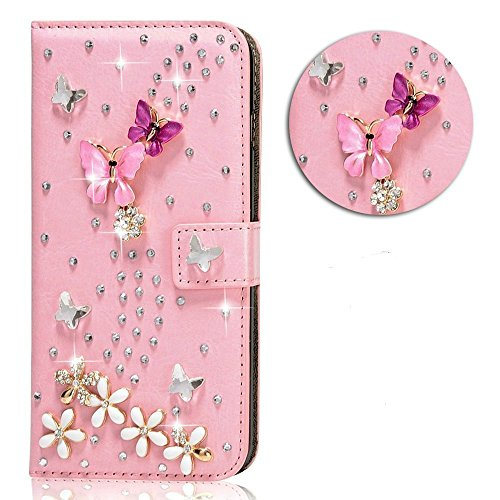 iPhone 7 Plus Crystal Clear Transparent Handmade Bling Shiny Diamond Design 3D Relief Flower Butterfly Embossed Folio Flip Full Protective Cover with …
