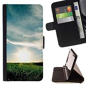 For Apple (4.7 inches!!!) iPhone 6 / 6S ,S-type Naturaleza Sunset campos- Dibujo PU billetera de cuero Funda Case Caso de la piel de la bolsa protectora