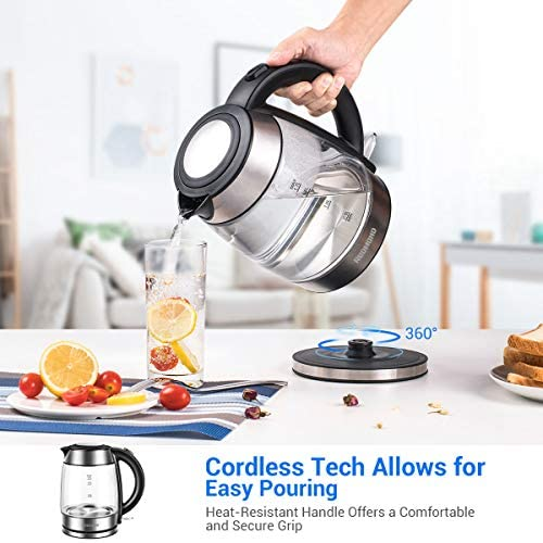 REDMOND Electric Kettle, 1.7L Cordless Glass Tea Kettle BPA-Free, Stainless Steel Finish, 1500W Fast Boiling Hot Water Kettle with LED Indicator, Auto Shut-Off Boil Dry Protection, EK007