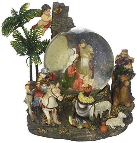 Nativity Snowglobe Scene (Musicbox Kingdom Snow Globe Nativity Scene with Palm Tree and The Holy 3 Kings, Sheep, and an Angel on The Base Plays The Melody Silent Night Decorative Item)