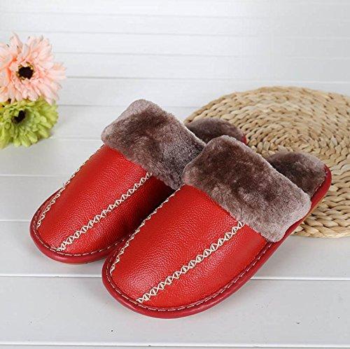 mhgao Ladies Casual de piel sintética zapatillas en otoño y invierno la cálido interior Zapatillas rojo