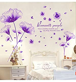 Nice SWORNA Nature Series 3D Romantic Purple Flowers Removable Vinyl DIY Mural  Wall Decor Decals For Living Part 11