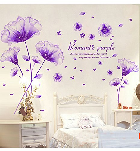 "Purple Decals - SWORNA Nature Series 3D Romantic Purple Flowers Removable Vinyl DIY Mural Wall Decor Decals for Living Room/Bedroom/Hallway/Sitting Room/Playroom/Kindergarten/Kids Nursery 46"" H X 79"" W, X-Large"