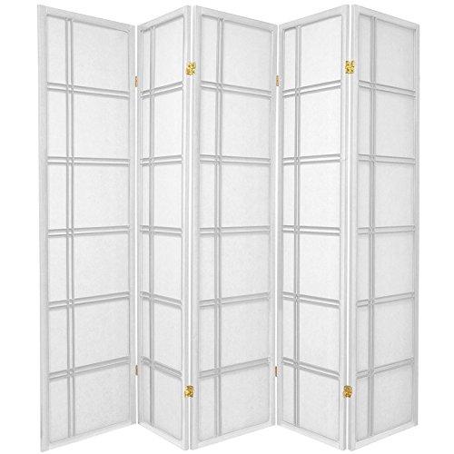 (Oriental Furniture 6 ft. Tall Double Cross Shoji Screen - White - 5 Panels )