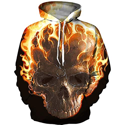 TAKUSHI HF Unisex Fashion Galaxy 3D Digital Printed Pullover Hoodies Hooded Sweatshirts for Sport and Party (Flame Skull, L/XL) -