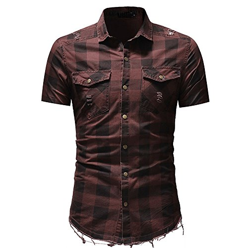 (Men's Plaid Print Short Sleeve Slim Fit Button-Down Shirts Blouse with Pocket (Red, M))