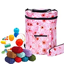 Large Knitting Tote Bag Yarn Storage Organizer Bag Drum Storage for Crochet And Knitting Knitting Yarn Holder Lightweight and Easy to Carry (Sun Flower)