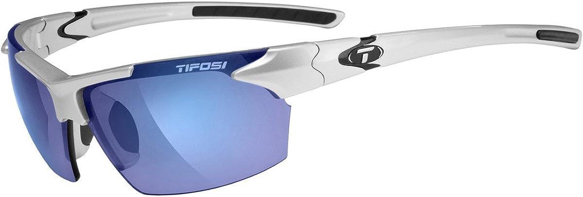 Tifosi Jet 0210400677 Wrap Sunglasses,Metallic Silver Frame/Smoke & Blue Lens,One Size: Clothing