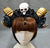 Gothic Lolita Sheep Ears Horn with Flowers Veil KC Headband Halloween Skull Hair Accessories Party (Gold)