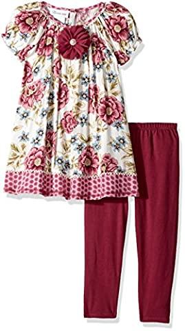 Bonnie Jean Toddler Girls' Fashion Legging Set, Floral Print, 4T - Girls Pink Floral Denim