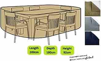HomeStore Global mediano forma oval Funda para muebles de jardín-Gruesa y de alta calidad durable 600D poliéster de la lona con costuras cosidas doble para la fuerza adicional, resistente a la humedad: