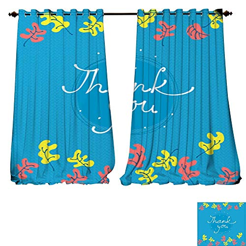 DESPKON-HOME Blackout Curtains Panels for Bedroom Thank You Card Design Template Simple Greeting Card Elegant Note Label Thanksgiving Symbol Sign Solid Ring Top Window Drapes-W72 x L84/Pair