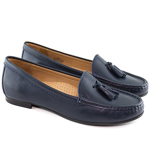 USA Driver Womens Loafer Made Leather Club Palm Navy Brazil Beach Grainy in r5ZUr
