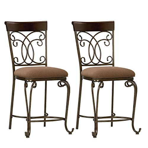 Standard Furniture Bombay 2-Pack Counter Height Chairs with Upholstered Seat, Brown