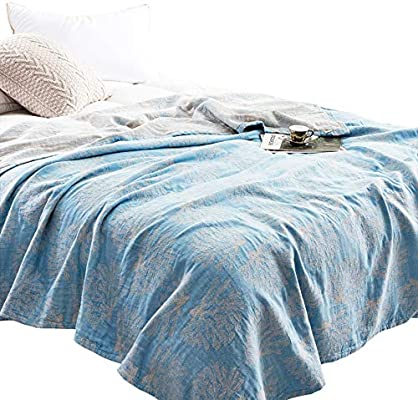 MEJU Coral Muslin Lightweight Summer Blanket for Bed Sofa Couch, 100% Combed Cotton 4 Layer Soft Warm Quick Dry Throw Blanket Bed Coverlet Sheet ...