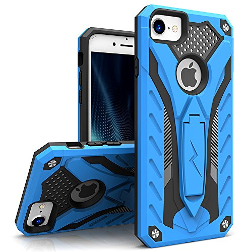 Zizo Static Series Compatible with iPhone 8 Case Military Grade Drop Tested with Built in Kickstand iPhone 7 case Blue Black