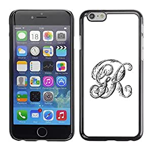 FlareStar Colour Printing R G Initials White Calligraphy Text Letters cáscara Funda Case Caso de plástico para Apple (5.5 inches!!!) iPhone 6 Plus