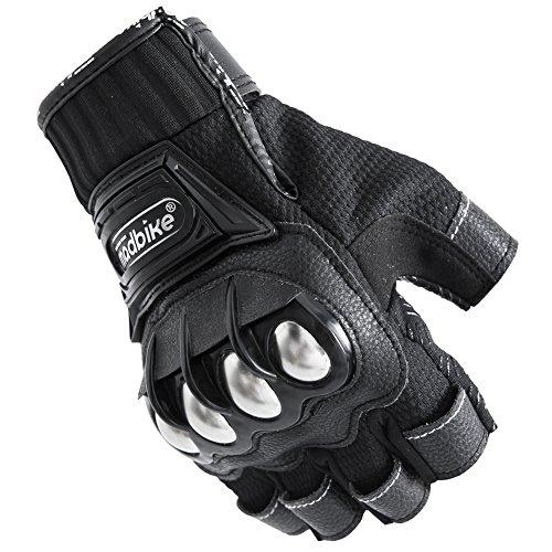 Motorcycle Fingerless Gloves,Dirt Bike Motocross Motorbike Power Sports Racing Gloves Steel Reinforced Knuckle (Black,XXL) by JYH (Image #4)