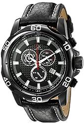 Joshua & Sons Men's JX109BK Round Black Dial Chronograph Quartz Black Strap Watch