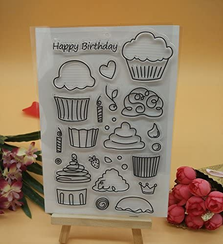 KWELLAM Tortoise Rabbit Bicycle Rain Boots Happy Birthday Easter Flowers Heart Clear Stamps for Card Making Decoration and DIY Scrapbooking