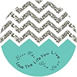 "iFUOFF Mousepad ""Love the life you live, Live the life you love"" Grey Zigzag Chevron Round Mouse Pad 200x2mm"