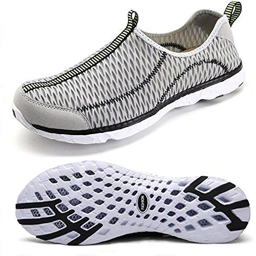 Wasser-Schuhe der Frauen maschen schnell trocknendes Aqua-leichtes athletisches Sport Breathable Beleg-auf Schuhen im Freien Grau