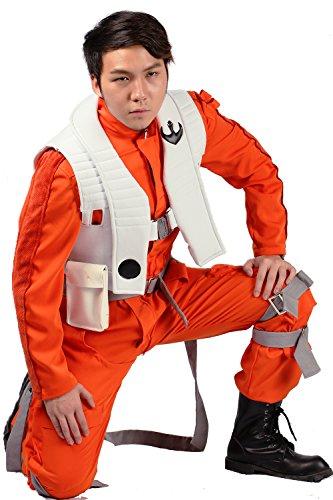 xcoser Poe Dameron Cosplay Costume Deluxe Orange Jumpsuit Suit Halloween Cosplay Outfit (L) ()