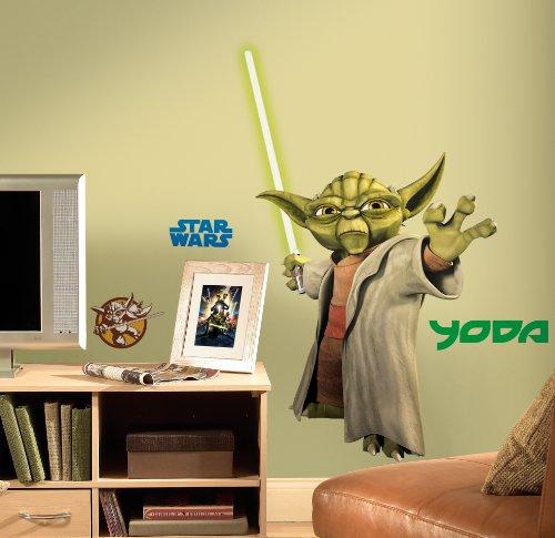 Amazon.com: RoomMates RMK1402GM Star Wars: the Clone Wars Yoda ...