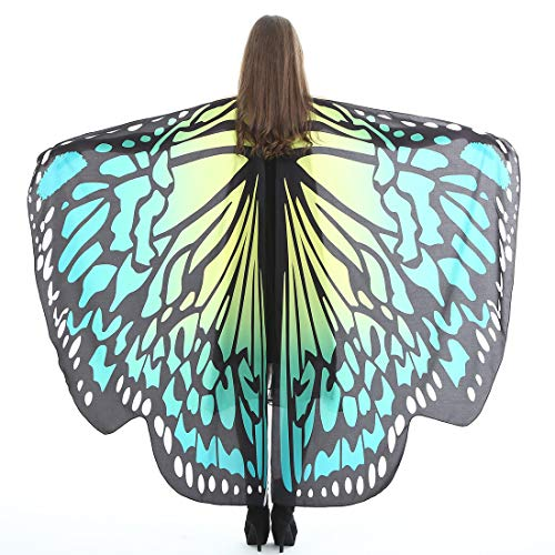 Halloween Party Soft Fabric Butterfly Wings Shawl Fairy Ladies Nymph Pixie Costume Accessory (Green Yellow)