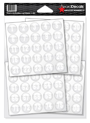 Award Decals Number Stickers for Helmets (Football, Baseball, Softball, Hockey, Lacrosse, Etc.) (White on Clear)