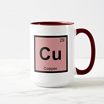 Amazon zazzle cu copper chemistry periodic table symbol zazzle cu copper chemistry periodic table symbol coffee mug maroon combo mug 15 oz urtaz Choice Image