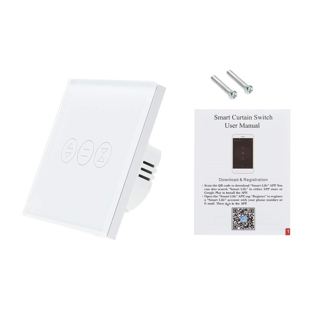 OWSOO Interruptor de Cortina Tuya WiFi Interruptor para Persiana Enrollable Puerta de Garaje Interruptor de Toque Inteligente Compatible con  Alexa Google Home Control de Voz